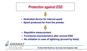 PYRO DASSAULT Protection against ESD