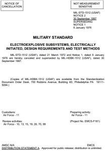 Cancelamento da norma MIL STD 1512 e sua transformacao em Handbook MIL HDBK 1512 com o mesmo texto em 30 September 1997