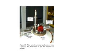 Figura 66 de COMAER 2004 da vista superior de um propulsor mostrando a posicao dos detonadores e dos dois sensores de pressao