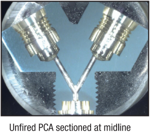 Unfired PCA sectioned at midline